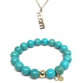 "Julieta Jewelry Set 10mm Turquoise Magnesite Emma 7"" Stretch Bracelet & 18mm Mom Charm 16"" 14k Over .925 SS Necklace"