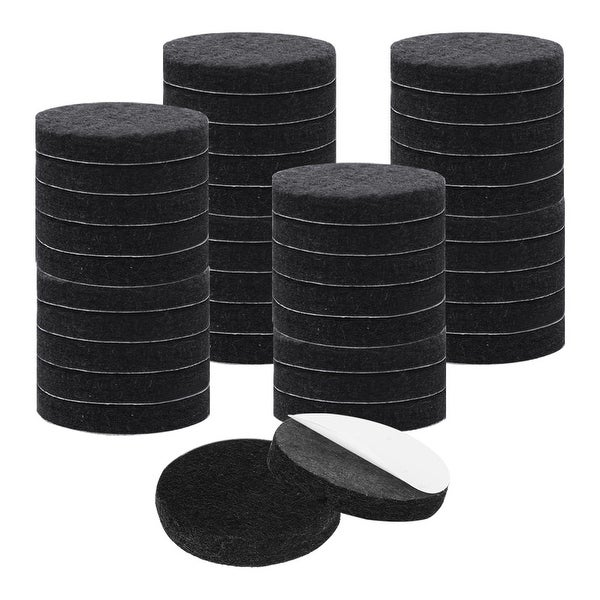 "40pcs Furniture Felt Pads Round 1 1/2"" Self-stick Non-slip Anti-scratch Pads for Sofa Chair Feet Floor Protector Black"