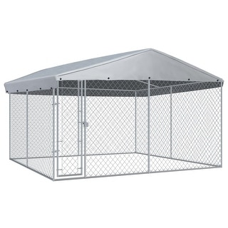 """Link to vidaXL Outdoor Dog Kennel with Roof 150.4""""x150.4""""x94.5"""" Similar Items in Dog Containment"""