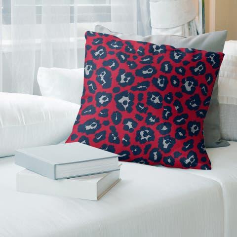 New England Football Leopard Print Accent Pillow-Spun Polyester