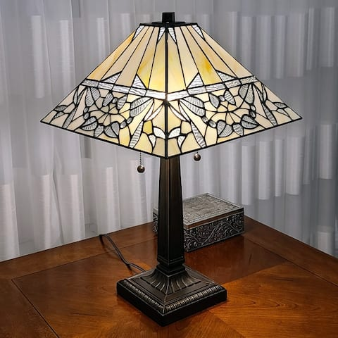 Tiffany Style Table Lamp Mission 22 Tall Stained Glass Ivory Brown Antique Vintage Light AM308TL14B Amora Lighting