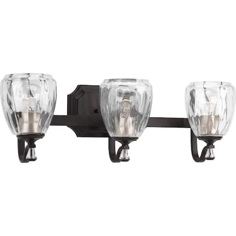 """Anjoux Collection Three-Light Antique Bronze Clear Water Glass Luxe Bath Vanity Light - 7.5"""" x 23"""" x 7"""""""