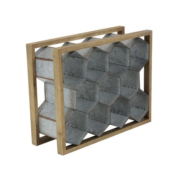 Shop Rustic Wood Frame Metal Honeycomb Tabletop Wine Rack Free