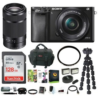 Sony Alpha a6000 24.3 Megapixel Mirrorless Interchangeable Lens Digital Camera /w 16-50mm Lens (Black) + Sony E 55-210mm