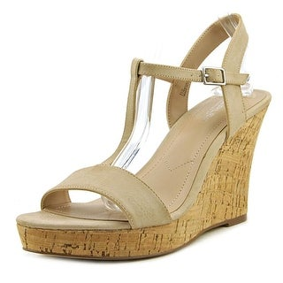 Charles By Charles David Libra Women Open Toe Leather Tan Wedge Sandal