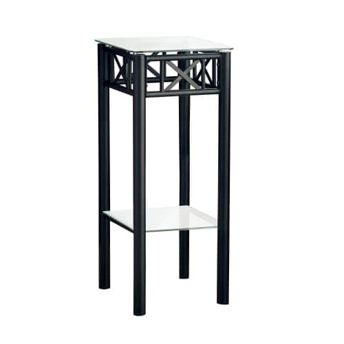 Monarch Specialties Side Table Ii 24 Inch Tall Square With Tempered Gl Surface