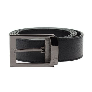 Versace Collection Men's Adjustable Stainless Steel Medusa Buckle Pebbled Leather Belt Black - XL