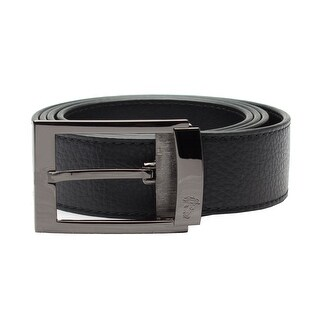 Versace Collection Men's Adjustable Stainless Steel Medusa Buckle Pebbled Leather Belt Black
