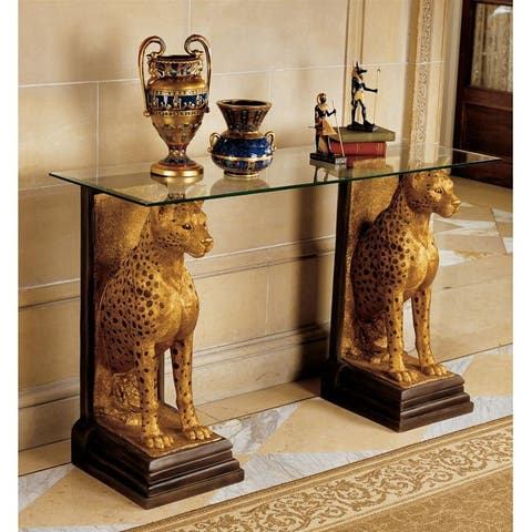 Design Toscano Royal Egyptian Cheetahs Sculptural Glass-Topped Console - 55 x 20 x 34.5