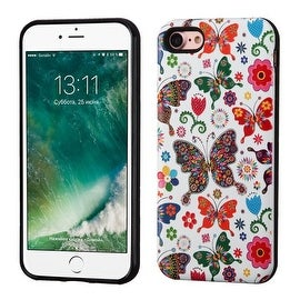 Insten Purple/ White Butterfly Wonderland Hard Snap-on Dual Layer Hybrid Case Cover For Apple iPhone 7