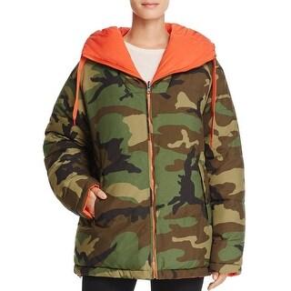 Kendall + Kylie Reversible Camouflage Down Jacket Coat Camo/Orange - m
