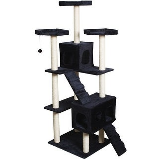 Gymax 70'' Cat Tree Condo Sisal-Covered Scratching Posts Mouse Toy Pet Home Navy