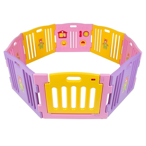 Kidzone Baby Playpen Kids 8 Panel Safety Play Center Yard Home Indoor / Outdoor Girls (Pink)