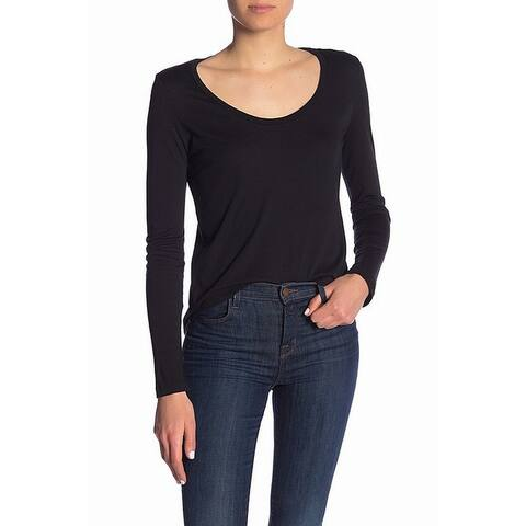Splendid Black Womens Size Small S Solid U-Neck Knit Stretch Top