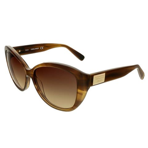 Dsquared DQ0128/S 47F Brown Horn Cat Eye Sunglasses - 58-14-140