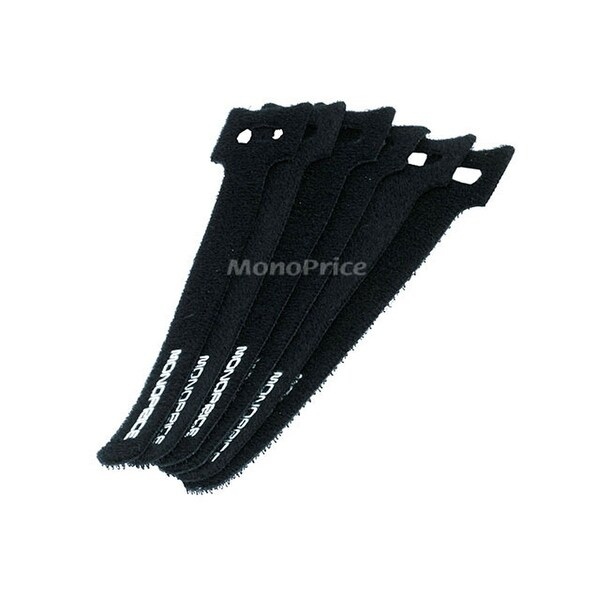 Monoprice Hook and Loop Fastening Cable Ties, 6 in, 50 pcs/pack, Black