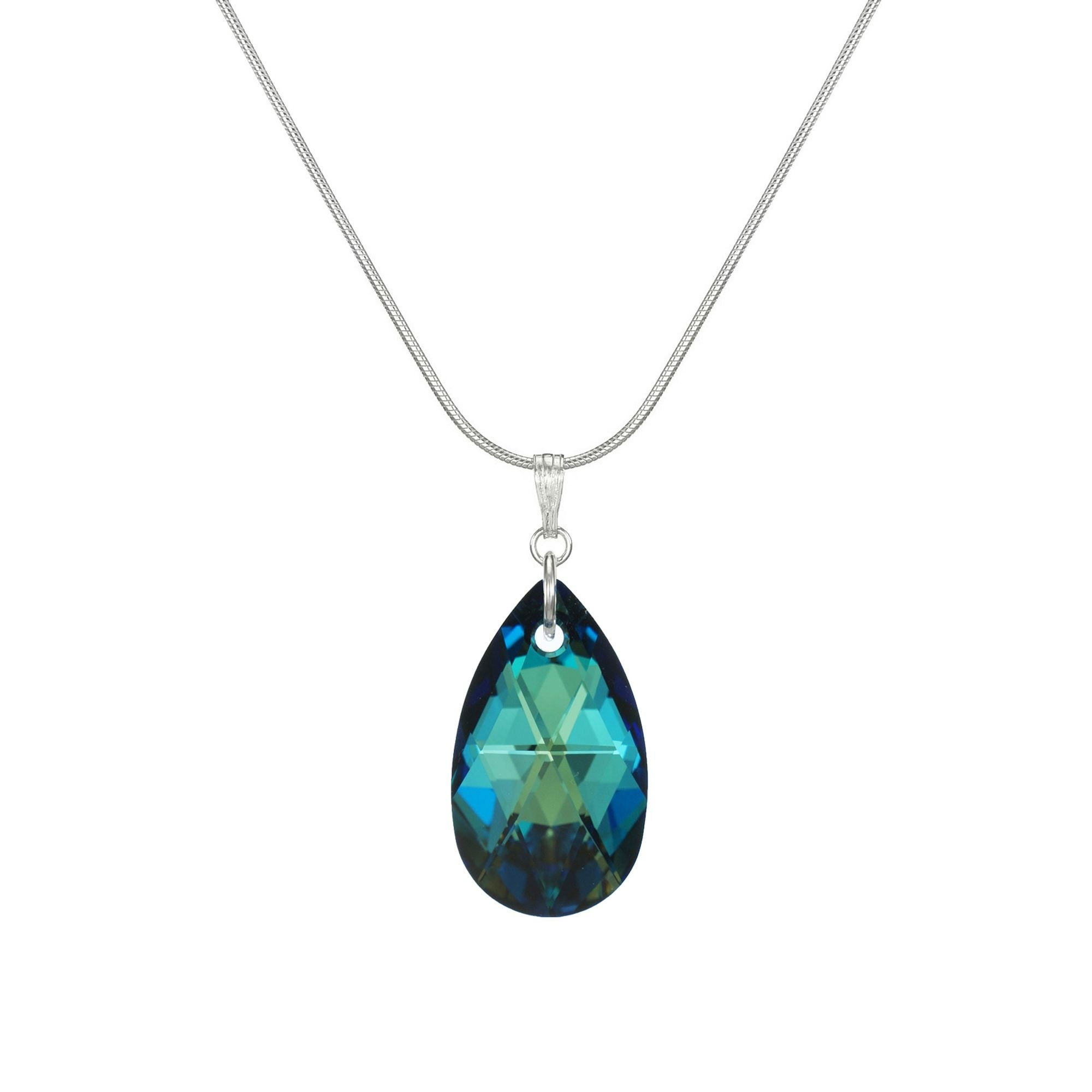 Sterling Silver and Blue Crystal Necklace 48\u201d
