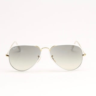 White And Gold Metal Aviator Sunglasses With Grey Gradient Lens - white and gold