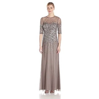 Adrianna Papell 3/4 Sleeve Beaded Illusion Gown Sweetheart Neckline, LED, 14 - led