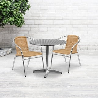 "Link to 31.5'' Round Aluminum Indoor-Outdoor Table Set with 2 Rattan Chairs - 31.5"" Similar Items in Patio Furniture"