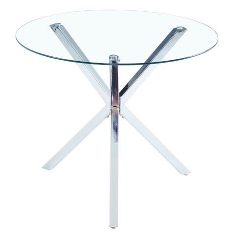 Round Glass Dining Table Transparent Glass Top Leg Cross Design
