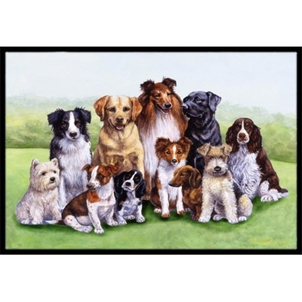 Carolines Treasures BDBA316BMAT Springtime Dogs Indoor or Outdoor Mat 18 x 27