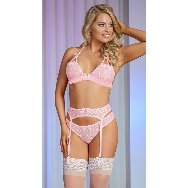 e08d444113 Shop Pearly Pink And Silver Lace Garter Set