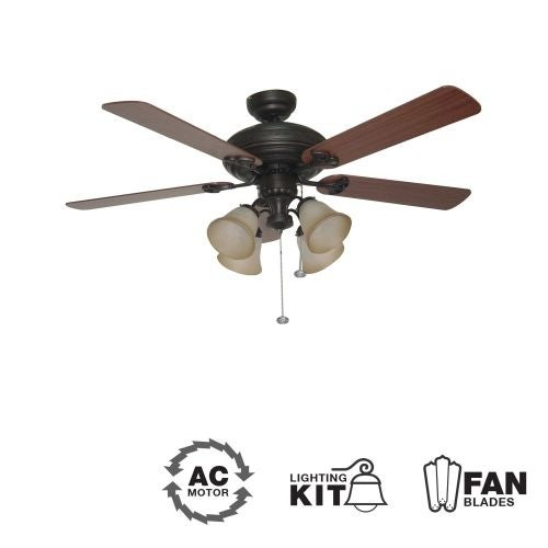 "Ellington Fans Beaufort-L Classic 52"" 5 Blade Indoor Ceiling Fan - Blades and Light Kit Included"
