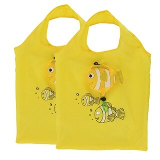 Polyester Fish Pattern Shoulder Hand Carrier Foldable Shopping Bag Yellow 2pcs
