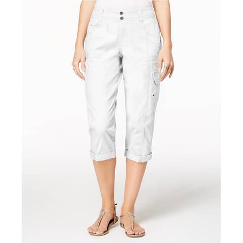 Style & Co Women's Cropped Cargo Pants Bright White Size 12