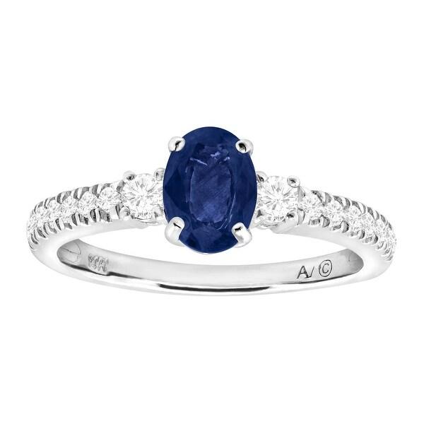 1 ct Natural Kanchanaburi Sapphire & 1/3 ct Diamond Ring in 14K White Gold - Blue