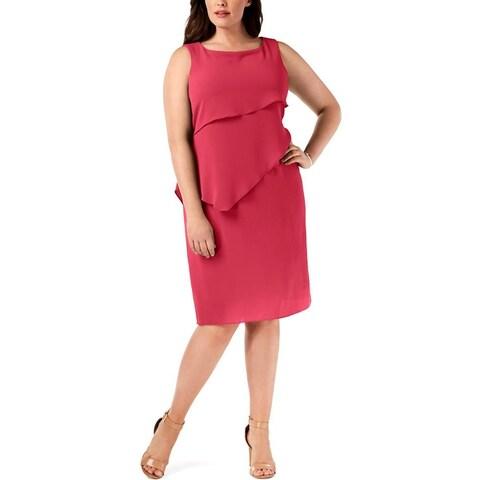 Jessica Howard Womens Plus Shift Dress Tiered Sleeveless