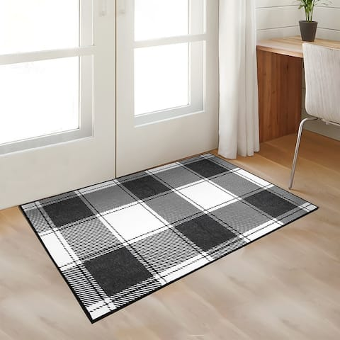 My Magic Carpet Machine Washable Area Rug Buffalo Plaid Black & White