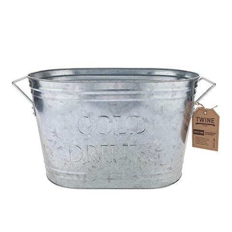 Twine Country Home 21 oz. Silver Metal Ice Bucket - 9.1 x 19.1 x 10.5