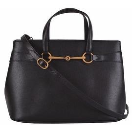 NEW Gucci $1,249 319795 Saffiano Leather Convertible Horsebit Purse Handbag