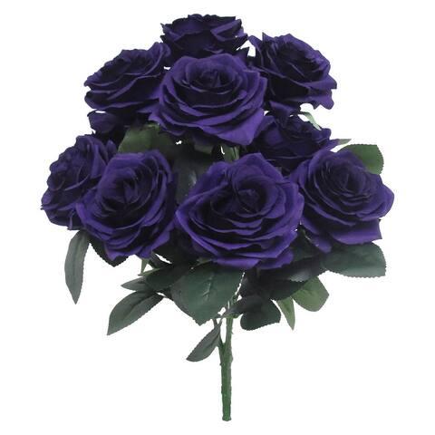 Set of 2 Queen Rose Flower Stems Bush Bouquet 17.75in