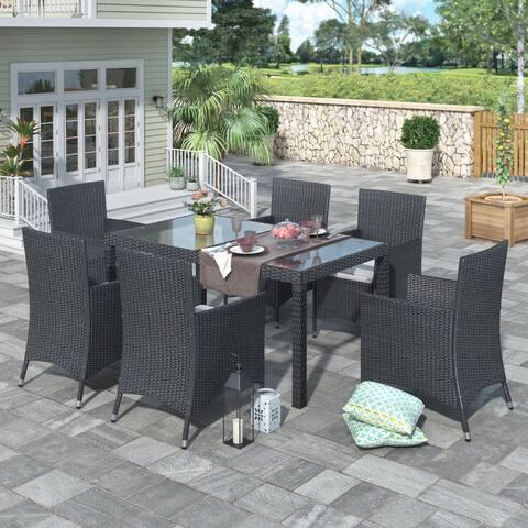 Nestfair Black 7-piece Outdoor Wicker Dining Set