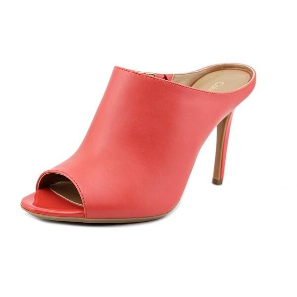 Calvin Klein Nola Women Open-Toe Leather Orange Mules
