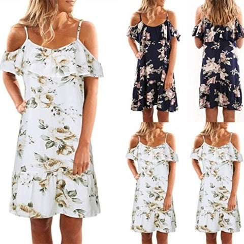 Women's Floral Cold Shoulder Ruffle Loose Casual Strap Pleated Mini Dress