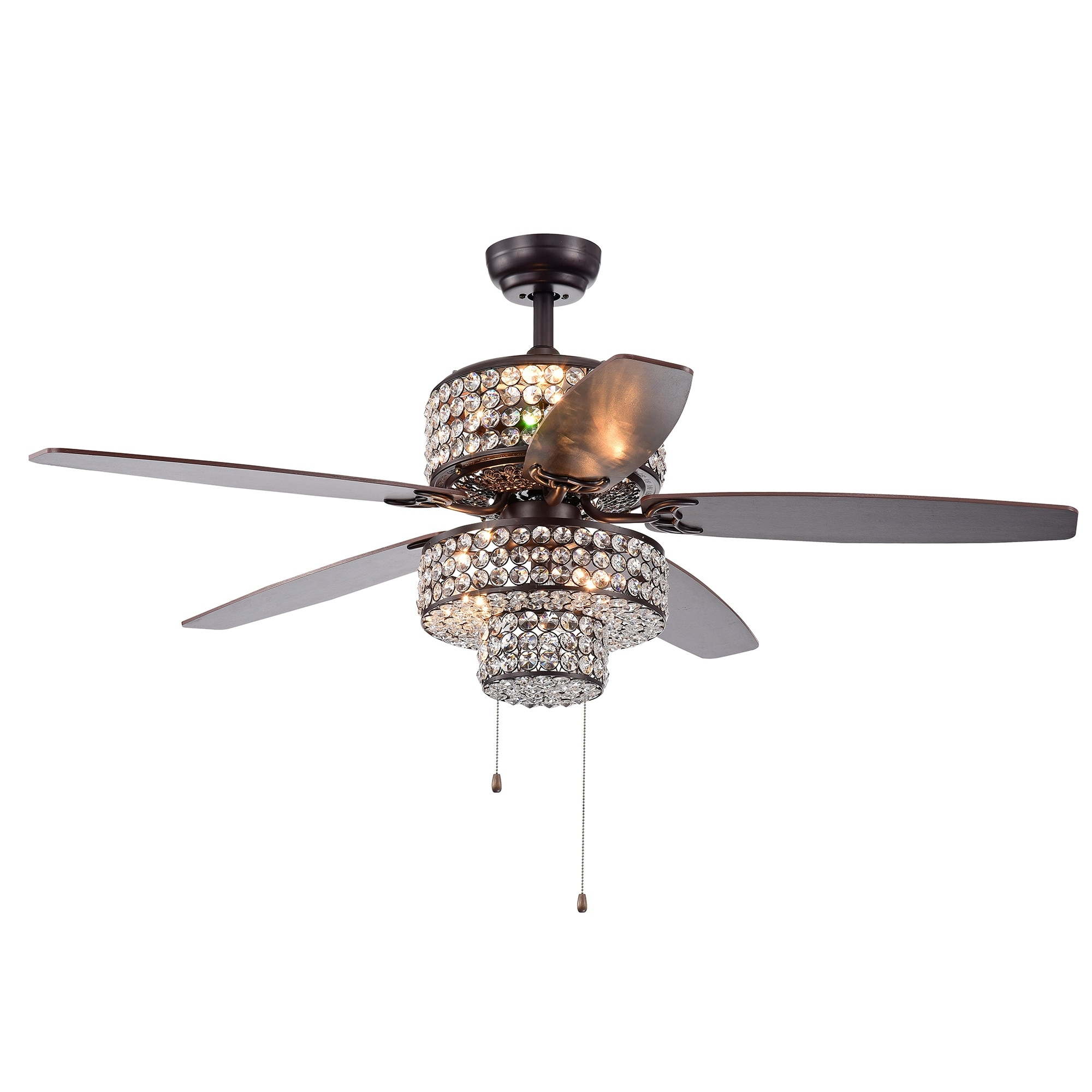 Tierna 5 Blade 52 Inch Rustic Bronze Lighted Ceiling Fans Two Tiered Crystal Shade Optional Remote Incl 2 Color Option Blades Overstock 22538391