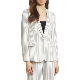 Link to Frame Womens Blazer Blue White Size 6 Striped Single-Button Notched Similar Items in Suits & Suit Separates