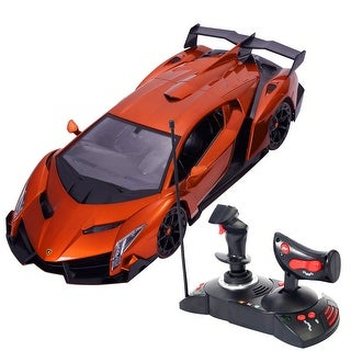 Costway 1/14 Lamborghini Veneno Electric Sport Radio Remote Control RC Car Orange Kids Toy