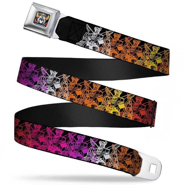Voltron Head Full Color Black Voltron Standing Repeat Black Multi Color Seatbelt Belt