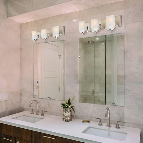 Carla 5-Piece Brushed Nickel Bathroom Hardware Set with 3 Light Vanity