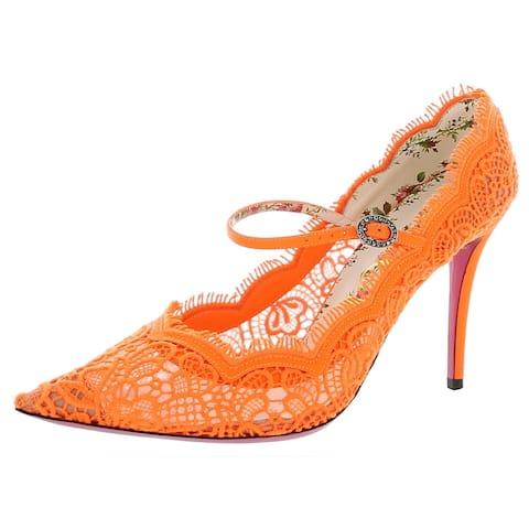 Gucci Womens Virginia 95 Pumps Mary Jane Strap - Fluorescent Orange