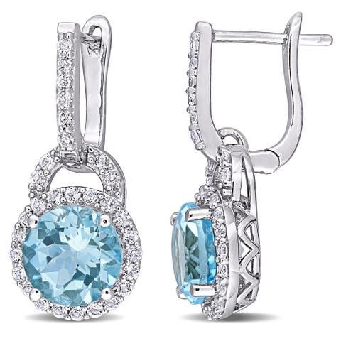 Miadora Sterling Silver Sky-Blue and White Topaz Halo Dangle Cuff Earrings - 23.6 mm x 10.7 mm x 9.1 mm