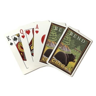 Bend, Oregon - Black Bear in Forest - Lantern Press Artwork (Playing Card Deck - 52 Card Poker Size with Jokers)
