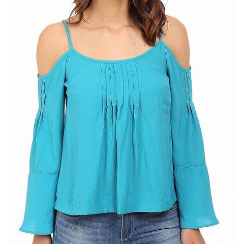 Nanette Lepore Womens Top Blue Size 0 Cold Shoulder Pleated Knit