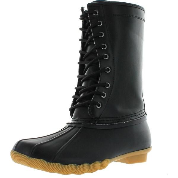 Refresh Hunter-03 Women's Lace Up Waterproof Duck Mid Calf Rain Winter Boots