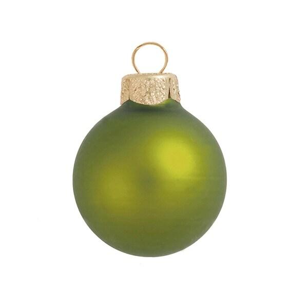 "6ct Matte Green Kiwi Glass Ball Christmas Ornaments 4"" (100mm)"